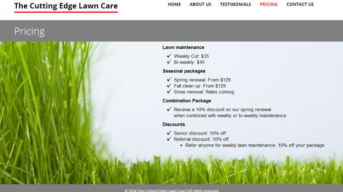 Wordpress custom lawn care website design development