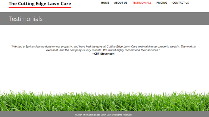 Wordpress custom lawncare website design development