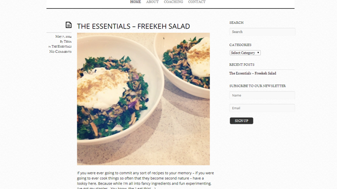 Wordpress food blog design