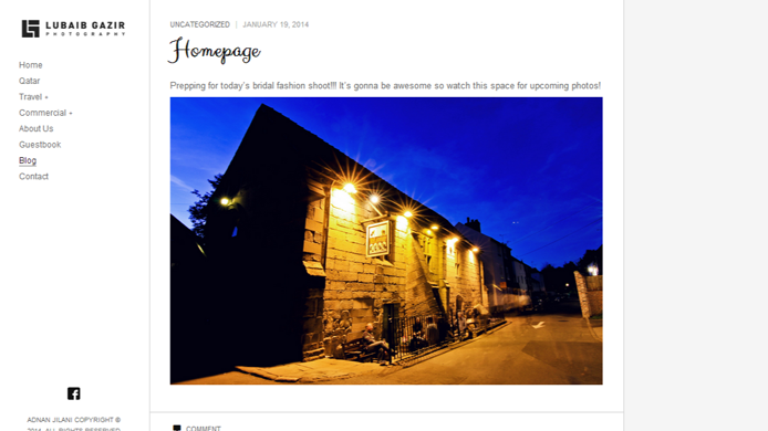 Wordpress photography theme website