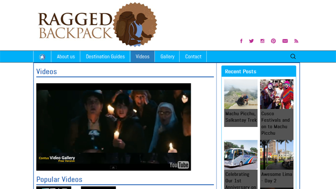 Wordpress travel blog design