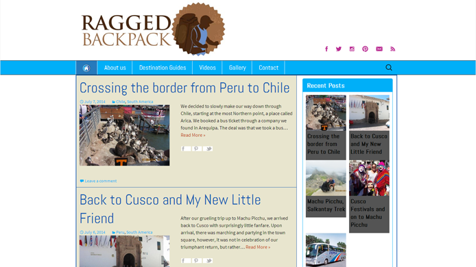 Wordpress travel blog design development