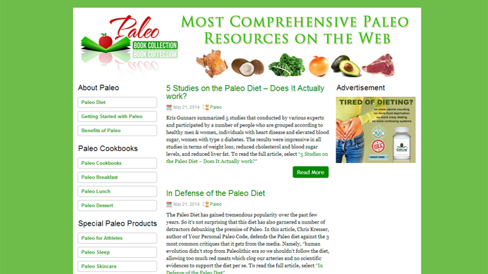 Affiliate website for paleo