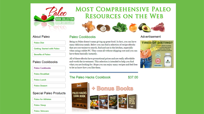 Paleo affiliate website