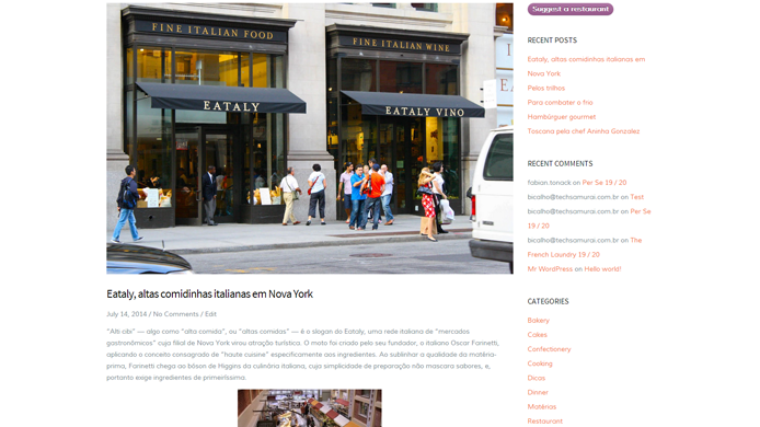 Wordpress restaurant website design
