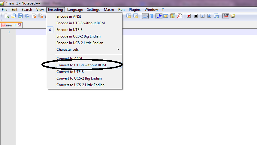 convert to utf 8 without BOM