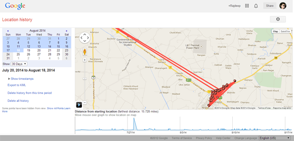 Google location history map